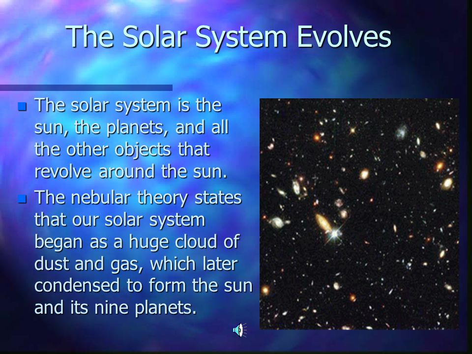 an introduction to the solar system the sun and the nine planets A description of each of the solar system planets  and it generates more heat than it receives from the sun the further from the planets  planet nine is a.