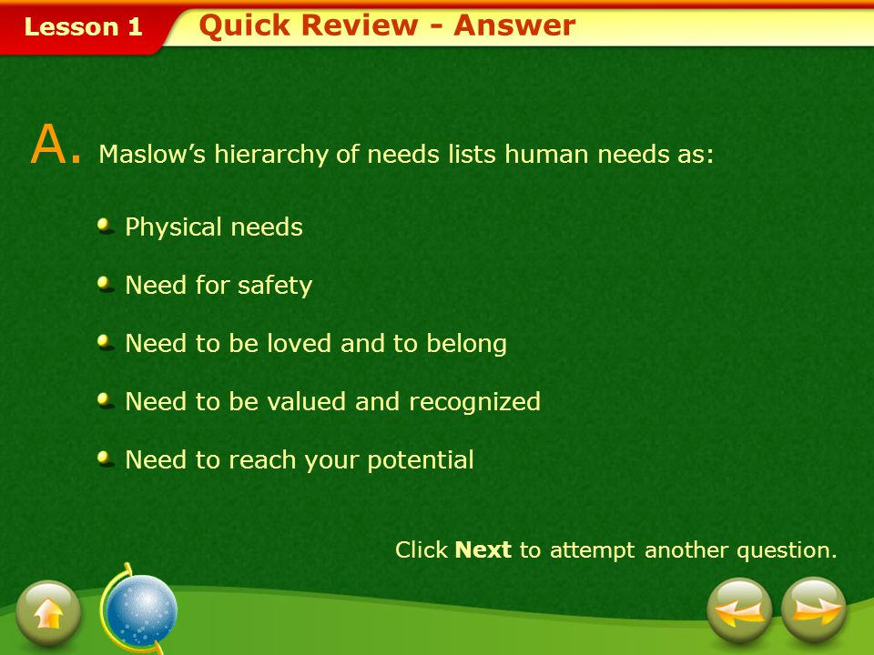 A. Maslow's hierarchy of needs lists human needs as: