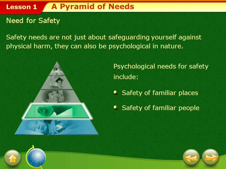 A Pyramid of Needs Need for Safety