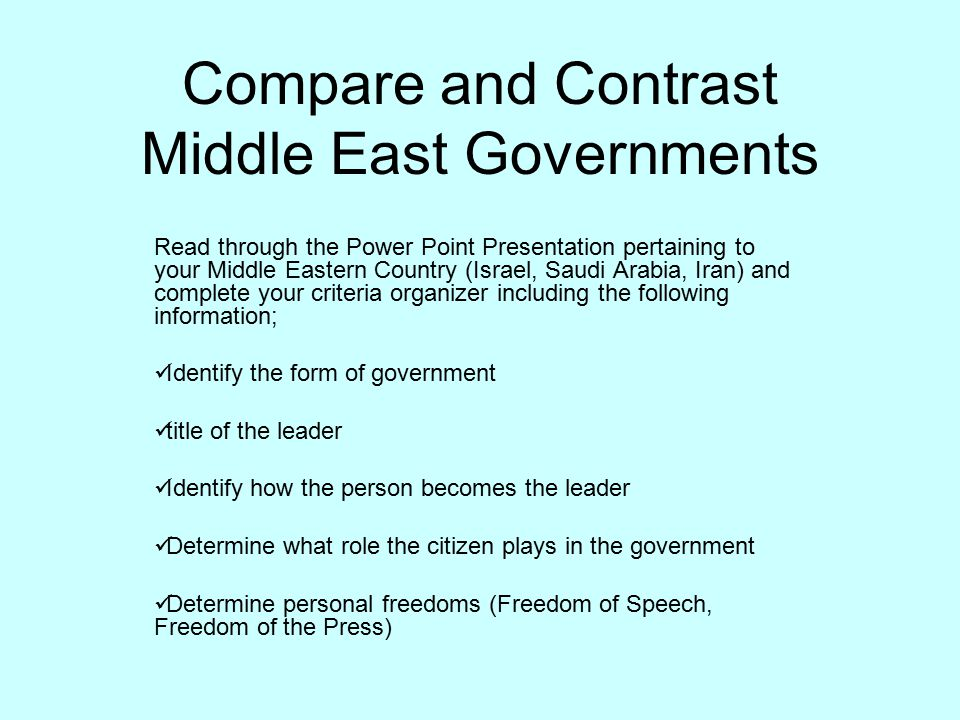Compare and Contrast Middle East Governments - ppt download