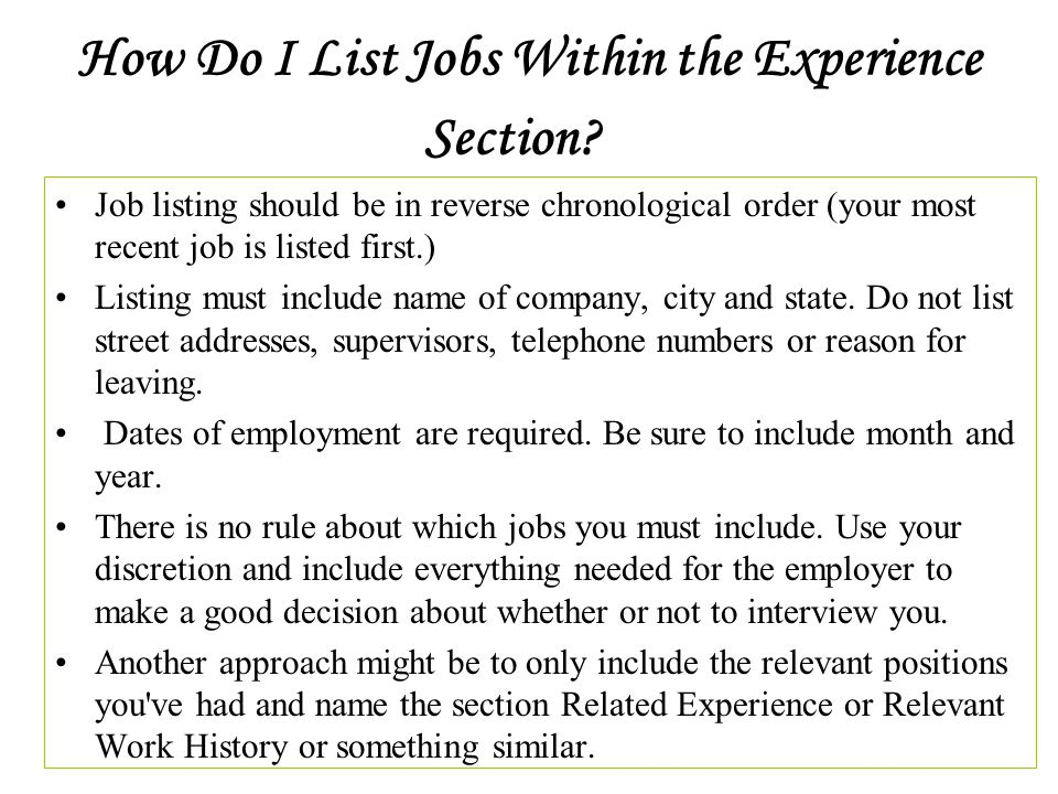 How Many Years Of Experience To List On A Resume Inducedfo