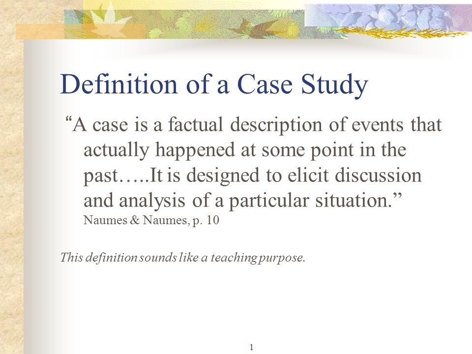 Definition Of A Case Study  Ppt Video Online Download