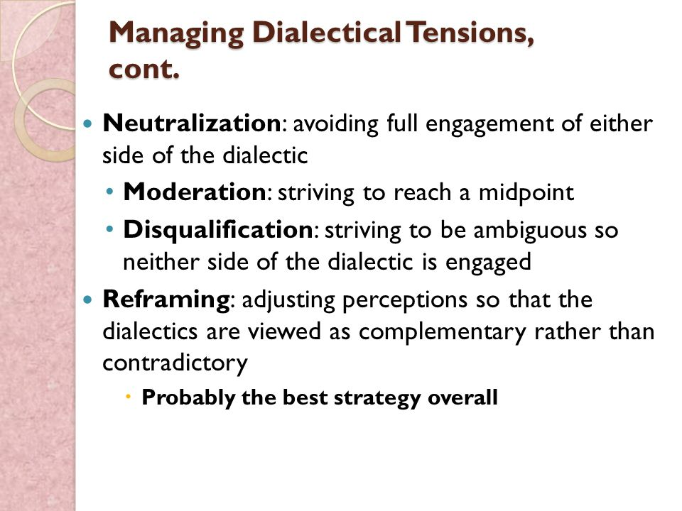 dialectical tension This study examined dialectical tensions faced by leaders of small task-oriented  groups interviews with 10 male and 13 female group leaders.