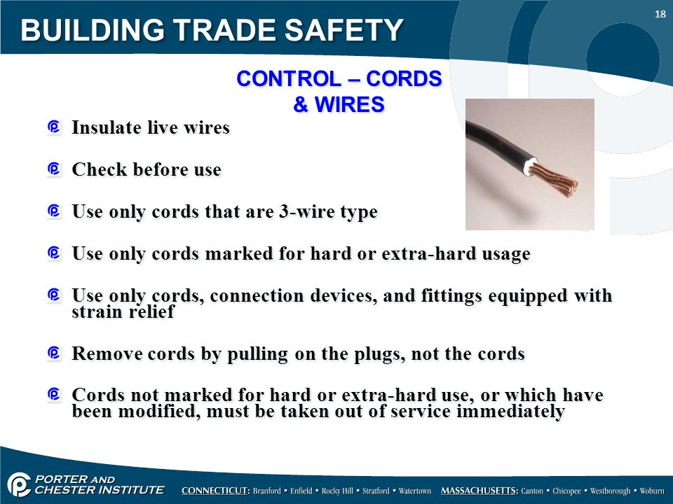 BUILDING TRADE SAFETY CONTROL – CORDS & WIRES Insulate live wires