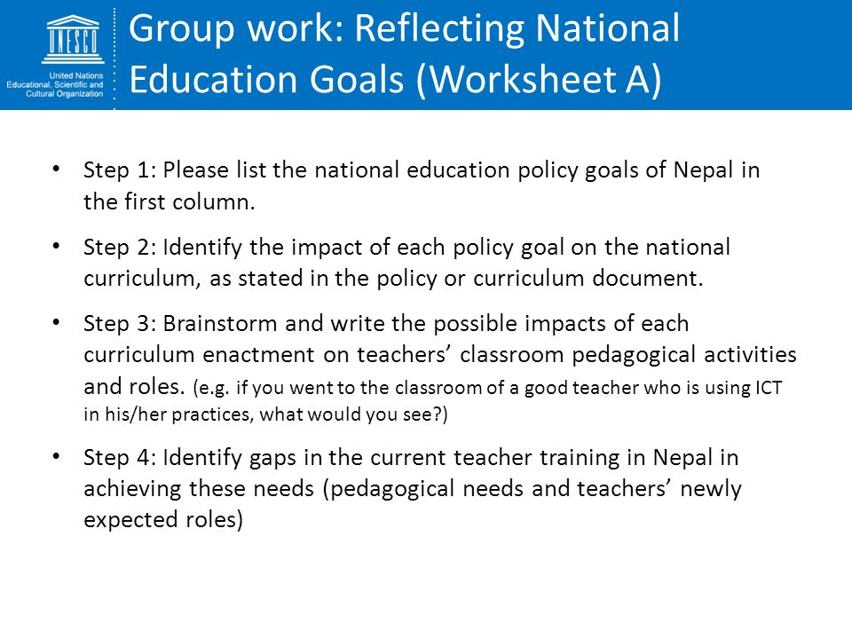 Group work: Reflecting National Education Goals (Worksheet A)