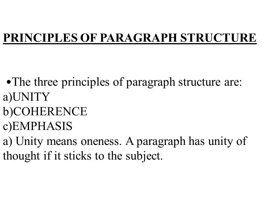 emphatic paragraph essay If you choose a clear, recognizable pattern (for a single paragraph, and also for a whole essay), you find it easier to select details and choose transitions still other principles of organization based on emphasis include general-to-specific order, specific-to general order.