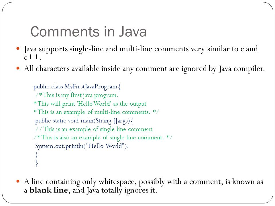 how to write comments in java