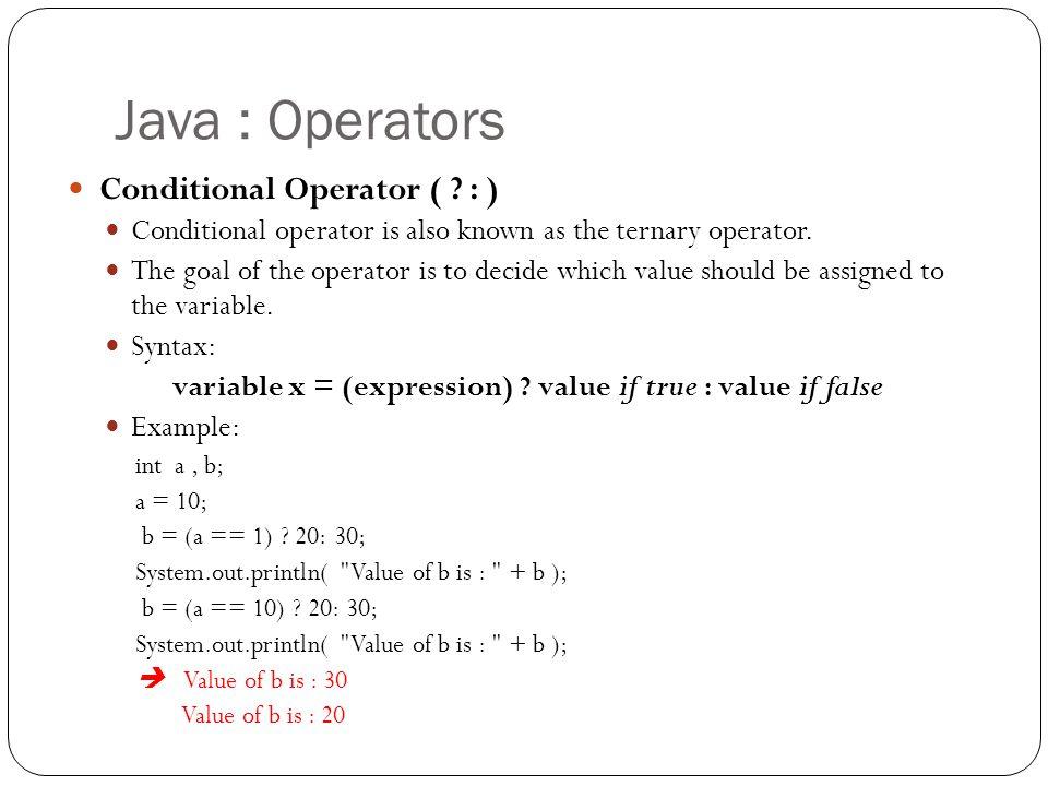 ternary operator in java