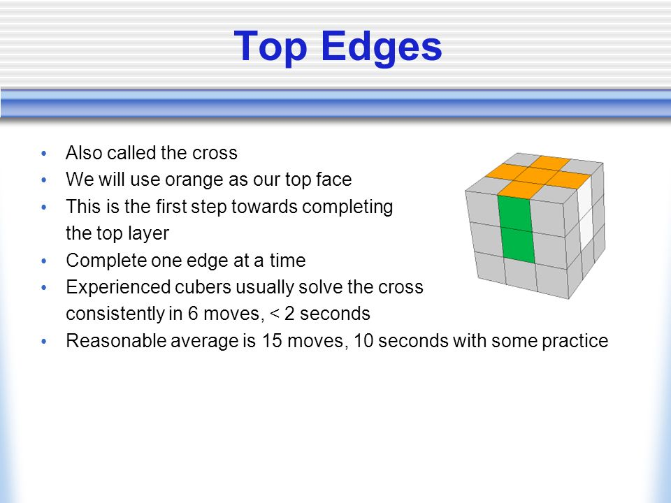 Top Edges Also called the cross We will use orange as our top face
