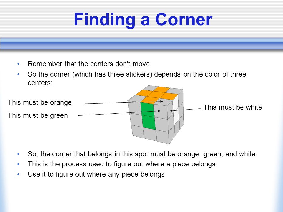 Finding a Corner Remember that the centers don't move