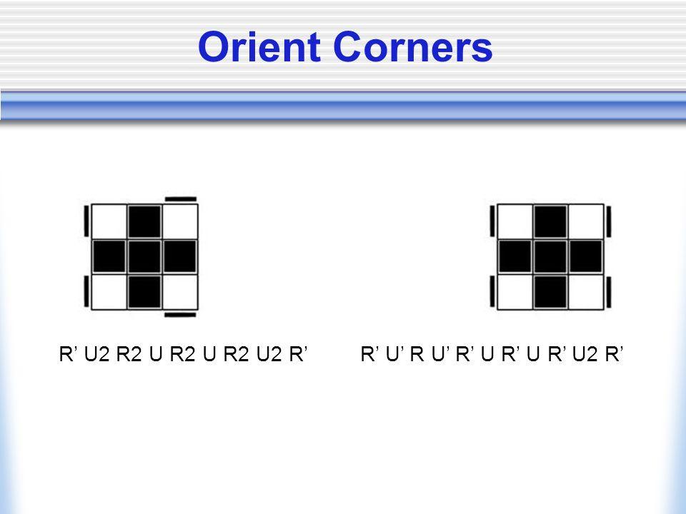 Orient Corners R' U2 R2 U R2 U R2 U2 R' R' U' R U' R' U R' U R' U2 R'