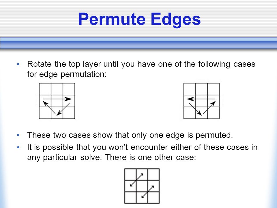 Permute Edges Rotate the top layer until you have one of the following cases for edge permutation: