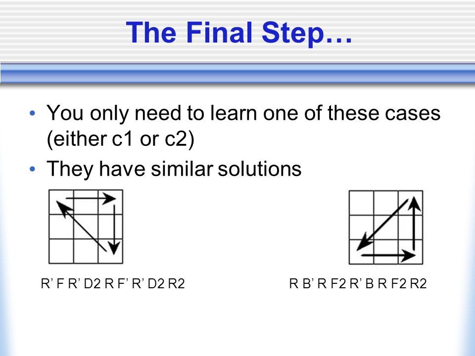 The Final Step… You only need to learn one of these cases (either c1 or c2) They have similar solutions.