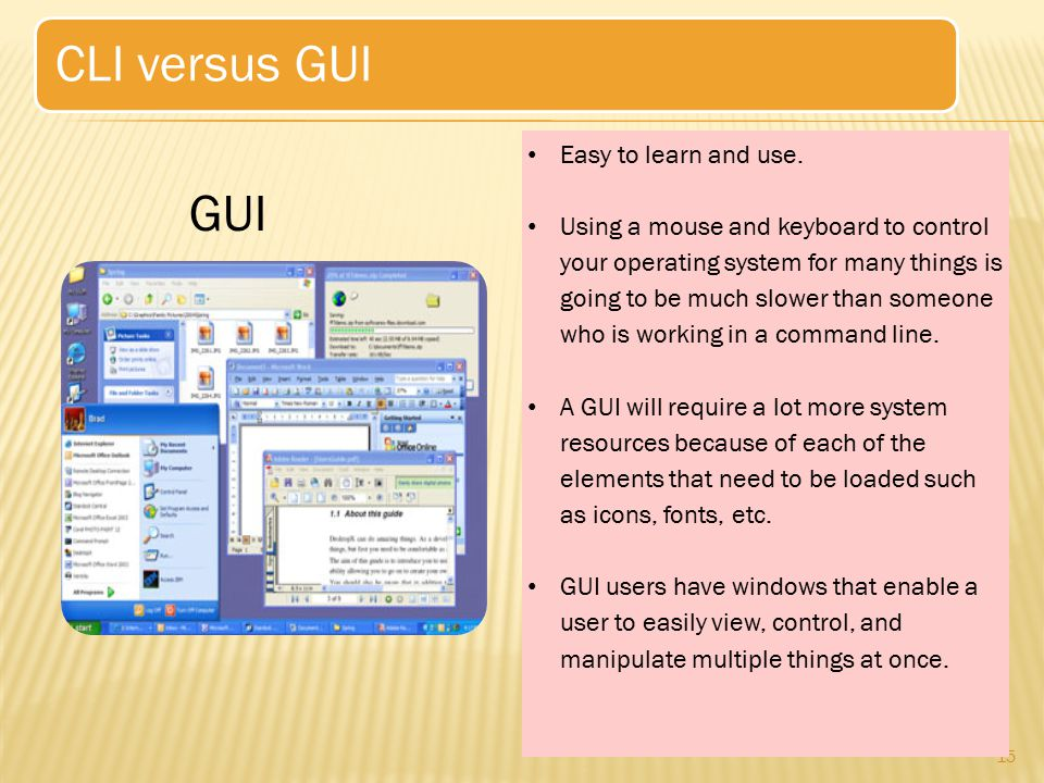 CLI versus GUI GUI Easy to learn and use.
