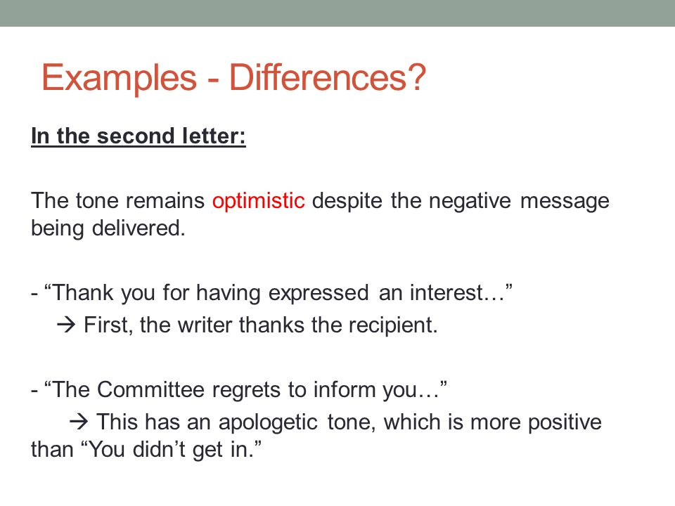 How to write negative message in