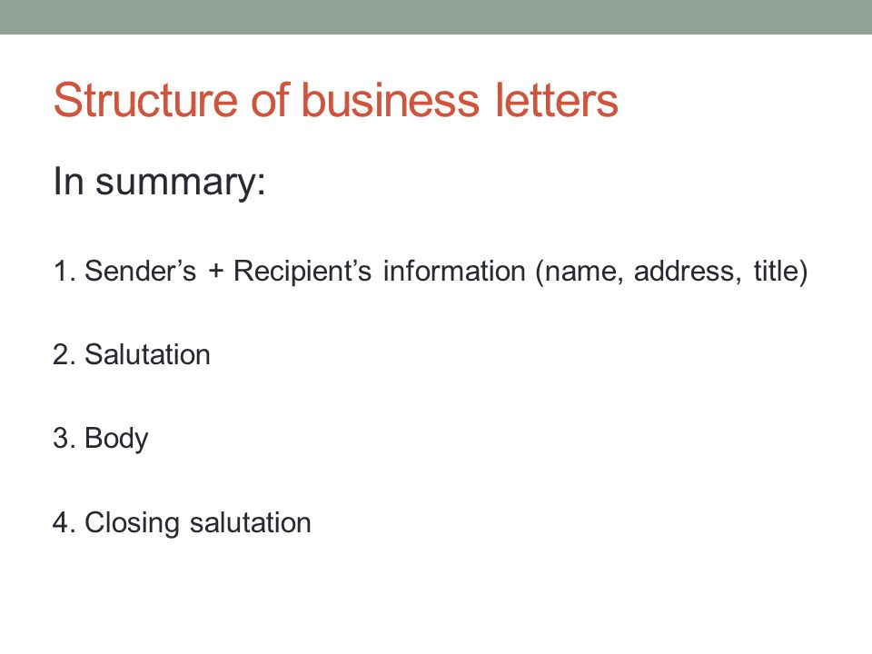 28 Business Letters Structure