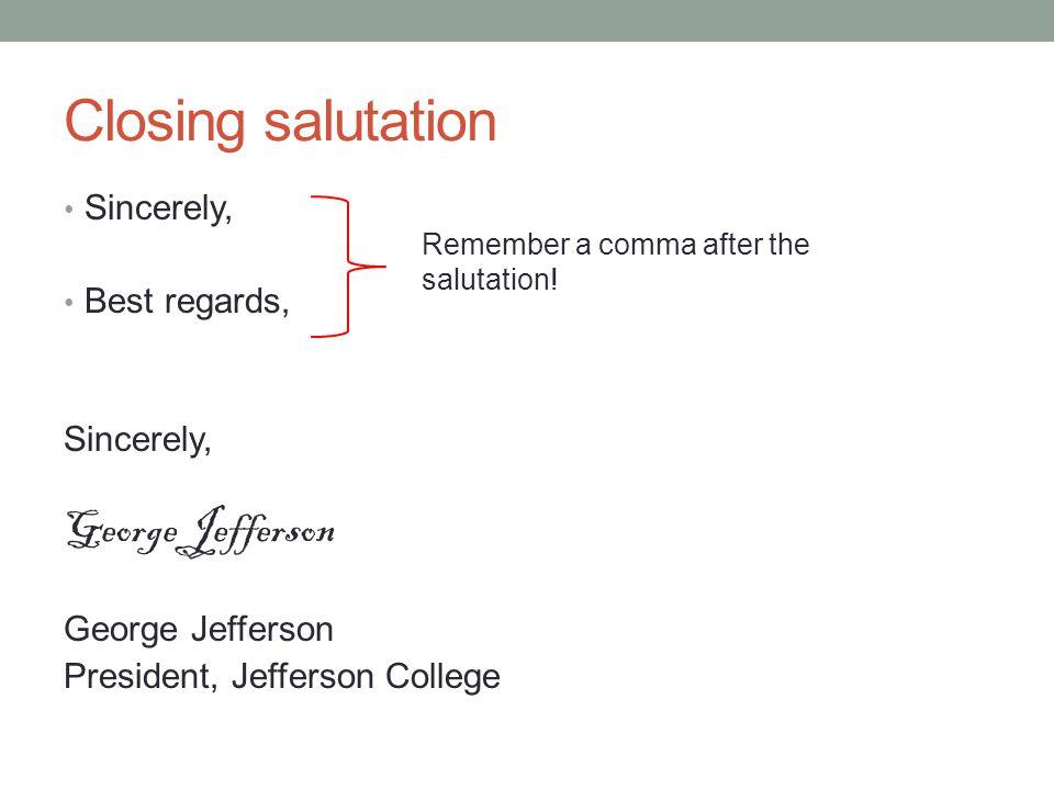 Comma After Salutation In A Formal Letter
