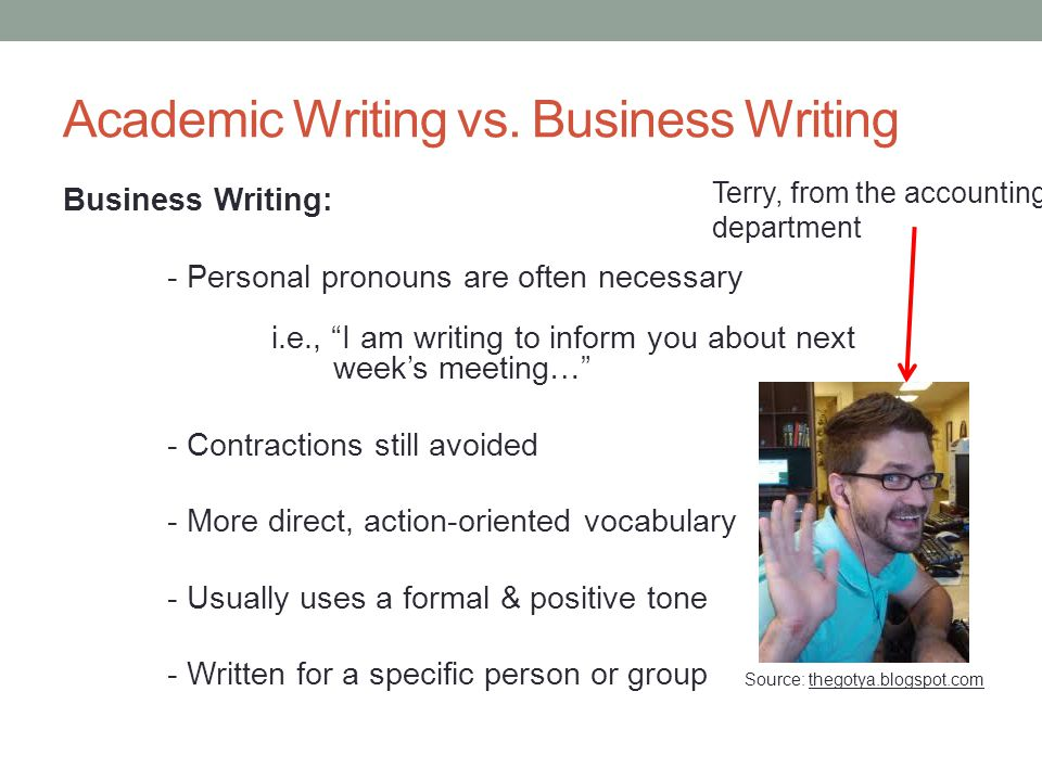 academic writing vs business writing Academic vs business writing the five primary differences between work and academic writing are 1 writing at work focuses on problem solving.