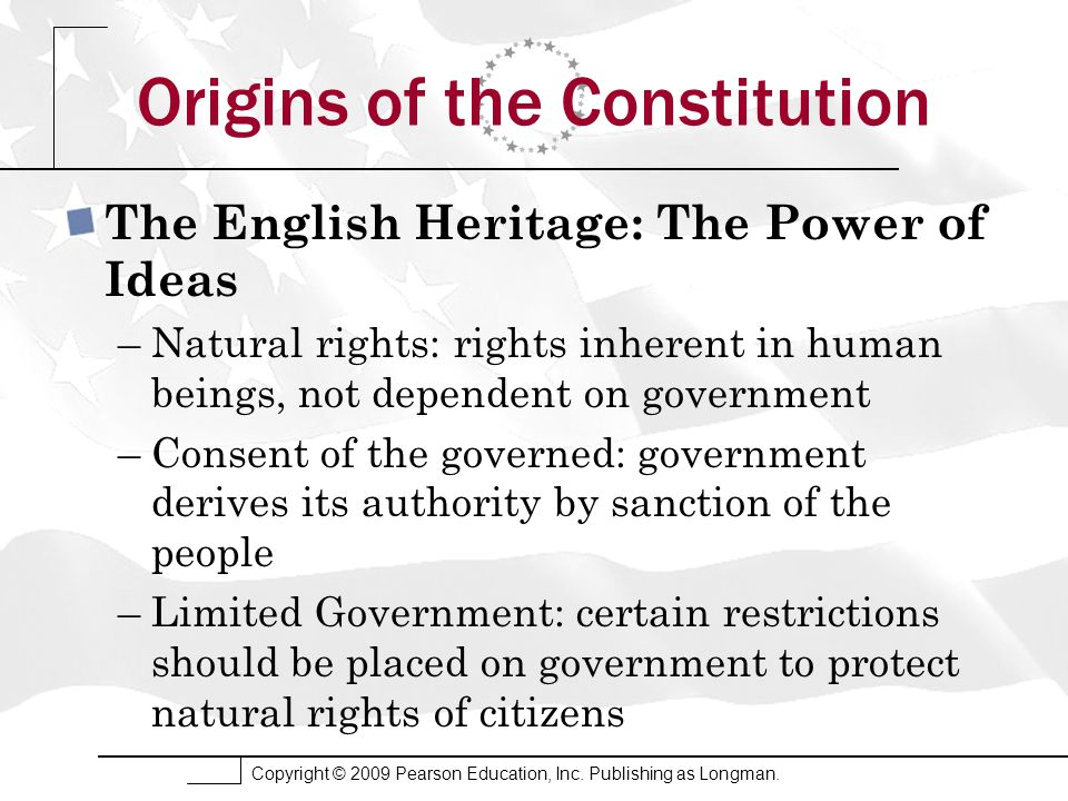 origins of power and rights of Bill of rights: the bill of rights  which places limits on the federal government's power to curtail individual freedoms the first amendment, for example,.