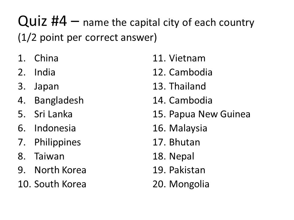 AsiaPacific Geography Ppt Download - Country name and capital city