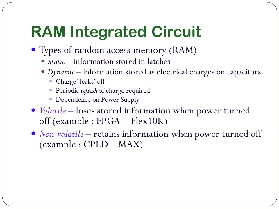 microchips integrated circuit and dynamic ram The star of the revolution is the ic chip, or microchip (all synonyms, although   in dynamic rams, the stored charges tend to leak away, and such chips.
