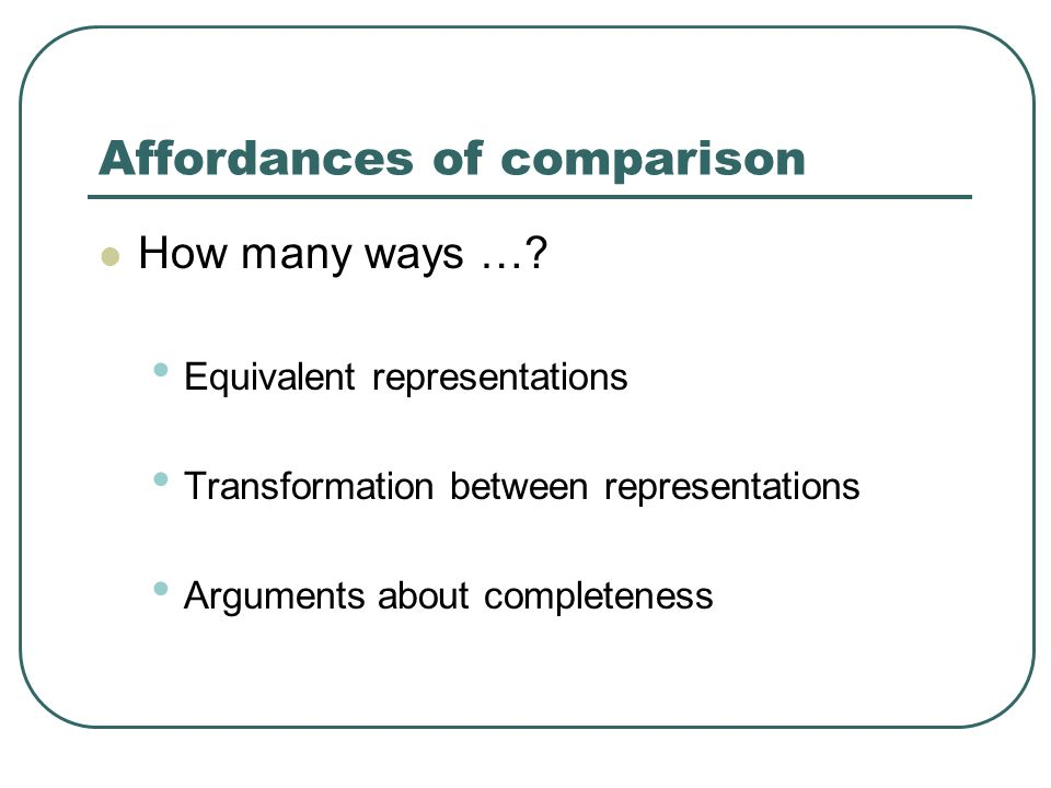 Affordances of comparison