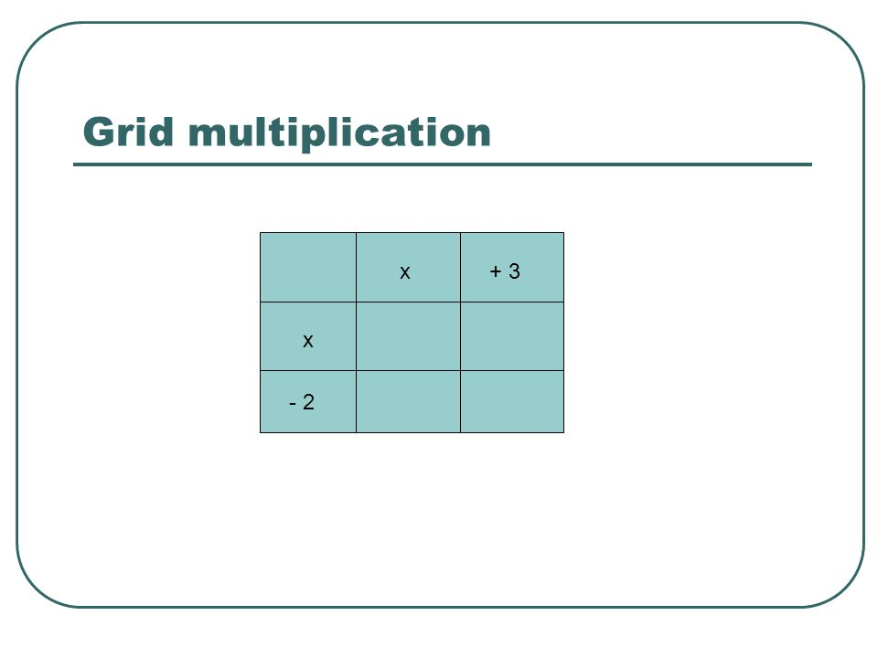 Grid multiplication x + 3 - 2