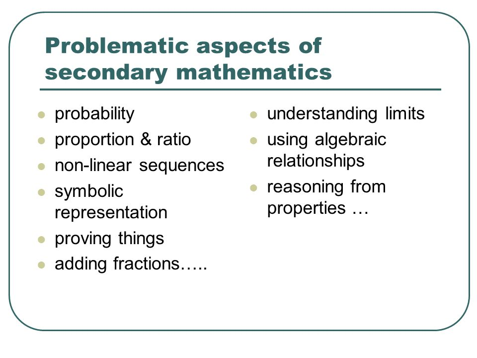 Problematic aspects of secondary mathematics