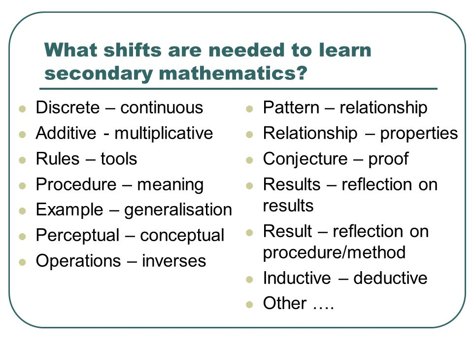 What shifts are needed to learn secondary mathematics