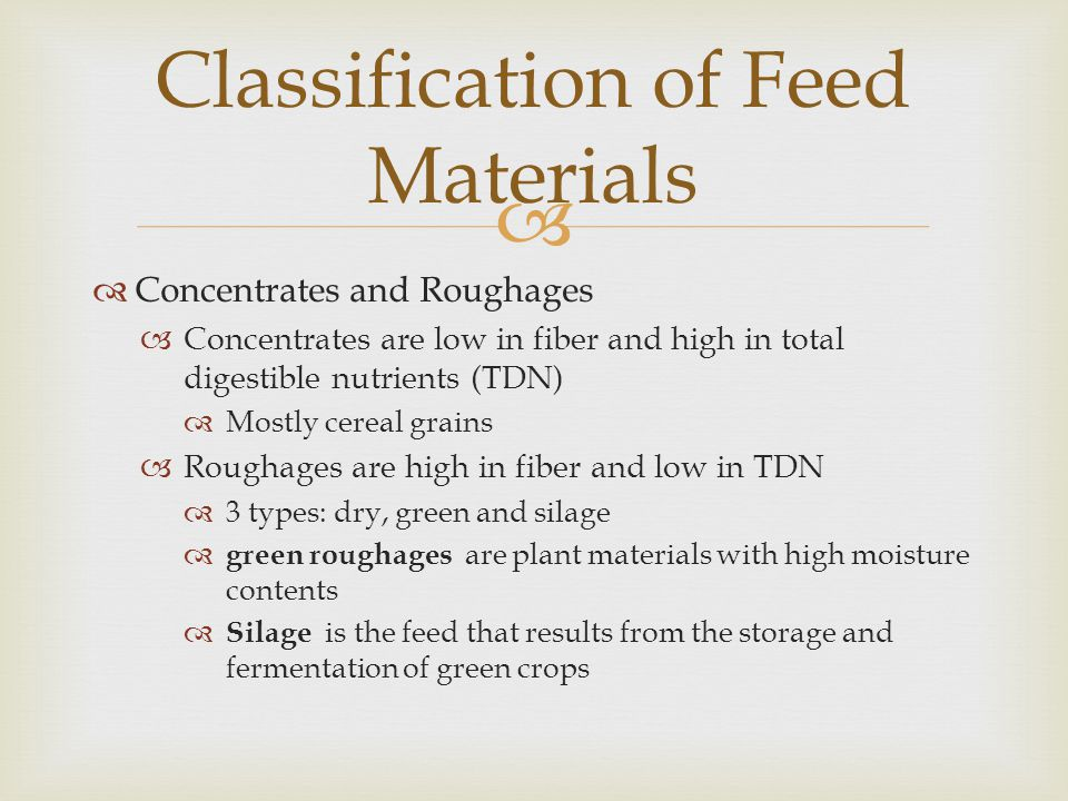 Classification of Feed Materials