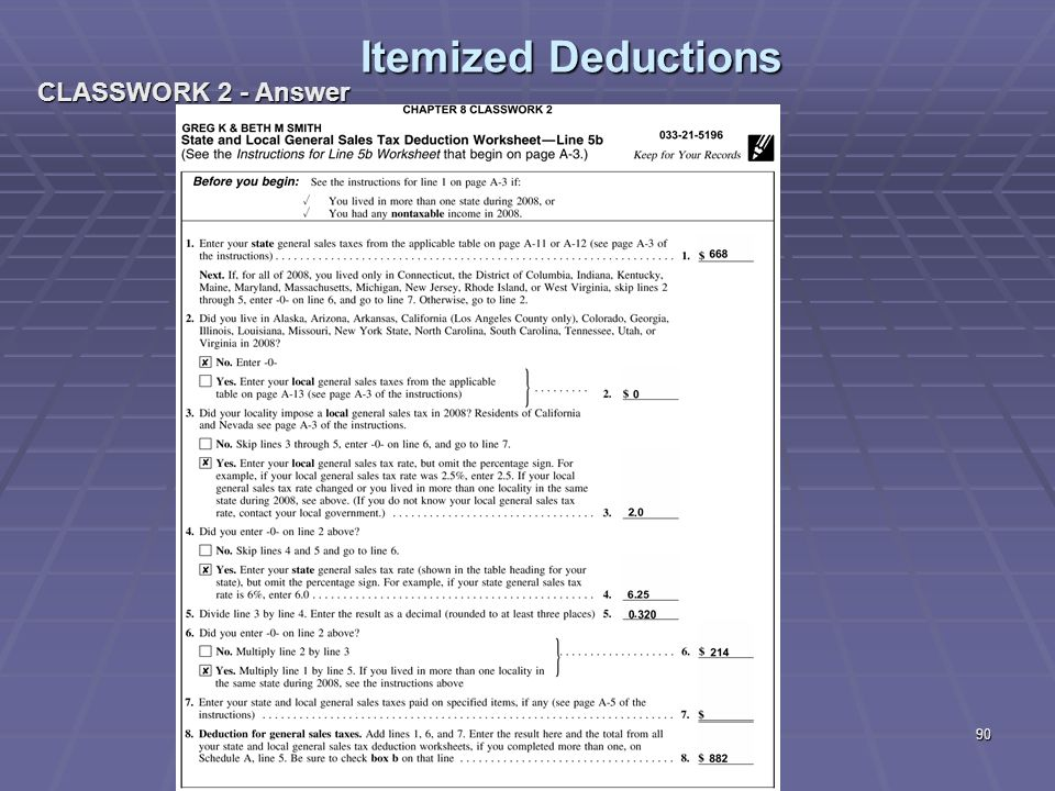 Liberty Tax Service Online Basic Income Tax Course Lesson 8 ppt – Schedule a Itemized Deductions Worksheet