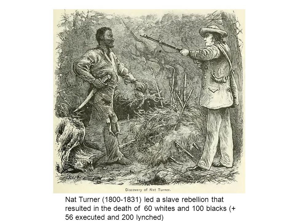 Nat Turner ( ) led a slave rebellion that resulted in the death of 60 whites and 100 blacks (+ 56 executed and 200 lynched)