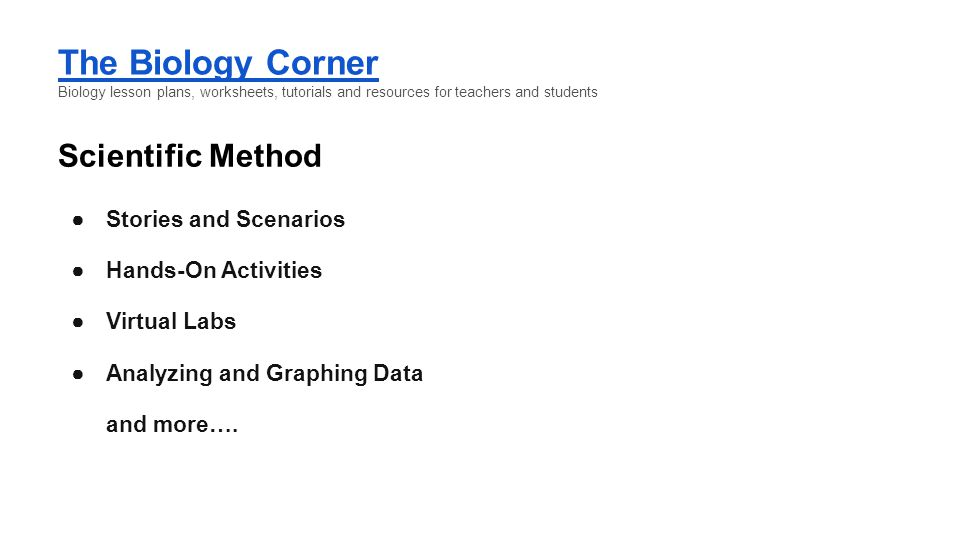 The Biology Corner Scientific Method Stories and Scenarios
