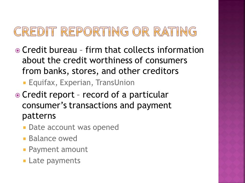 Credit reporting or rating