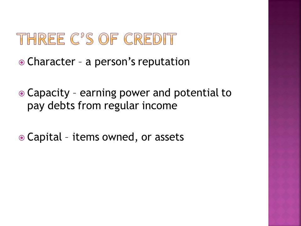 Three C's of Credit Character – a person's reputation