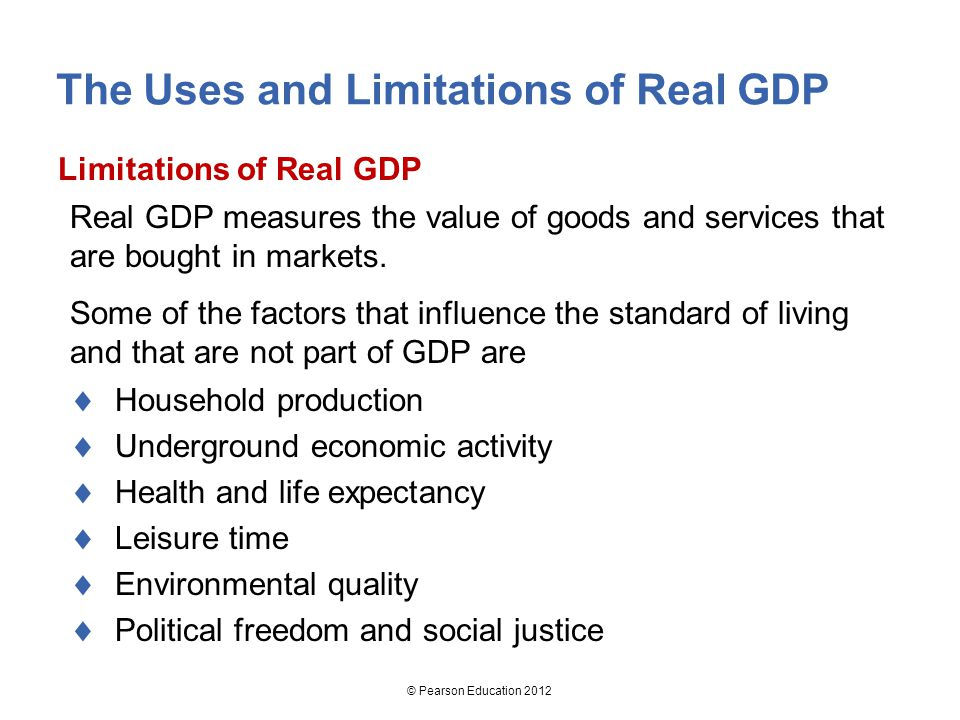 limitations of gdp comparing living standards Problems with gdp per capita as measurement of quality of life  and more to  create one index, allowing for comparisons of quality of life at the  measure on  set principles, dictating what influences a high standard of living.