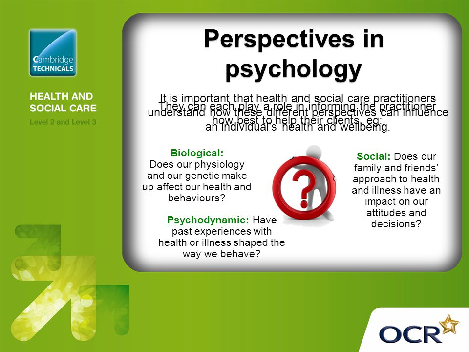 psychology perspectives There are four major perspectives in social psychology let's look at each perspective and how each one might approach a common question in social.
