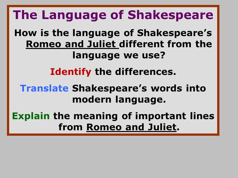 how does shakespeare use language and Many students—and adults for that matter—find shakespeare difficult to read and hard to understand they accuse him of not speaking english and refuse to believe.