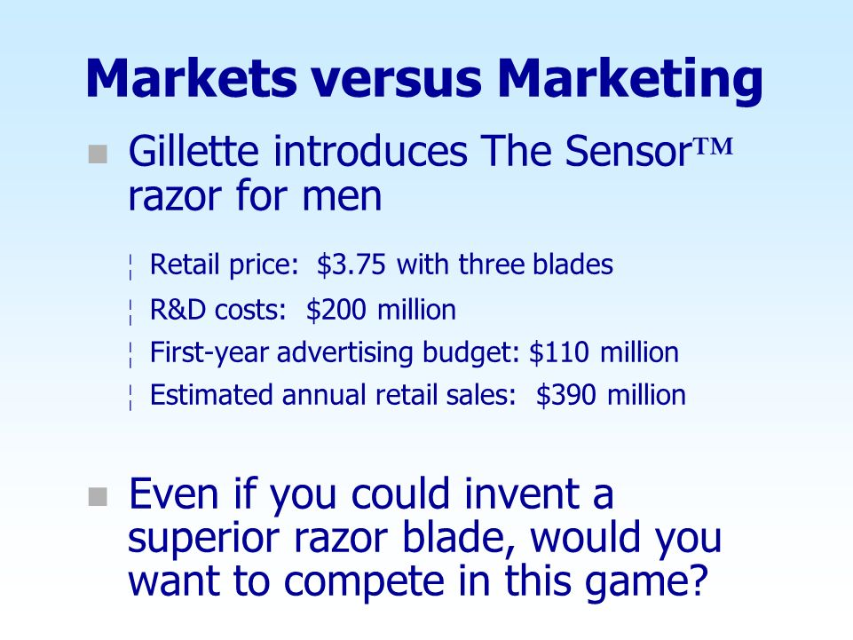Markets versus Marketing