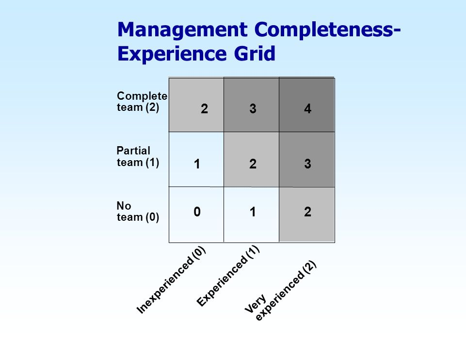 Management Completeness- Experience Grid