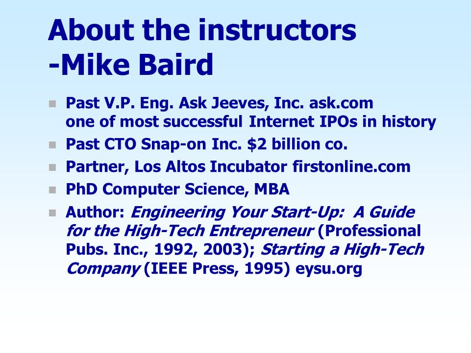 About the instructors -Mike Baird