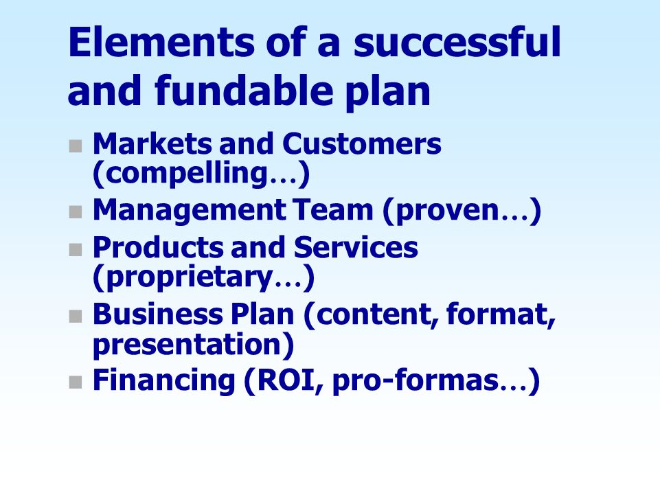 Elements of a successful and fundable plan