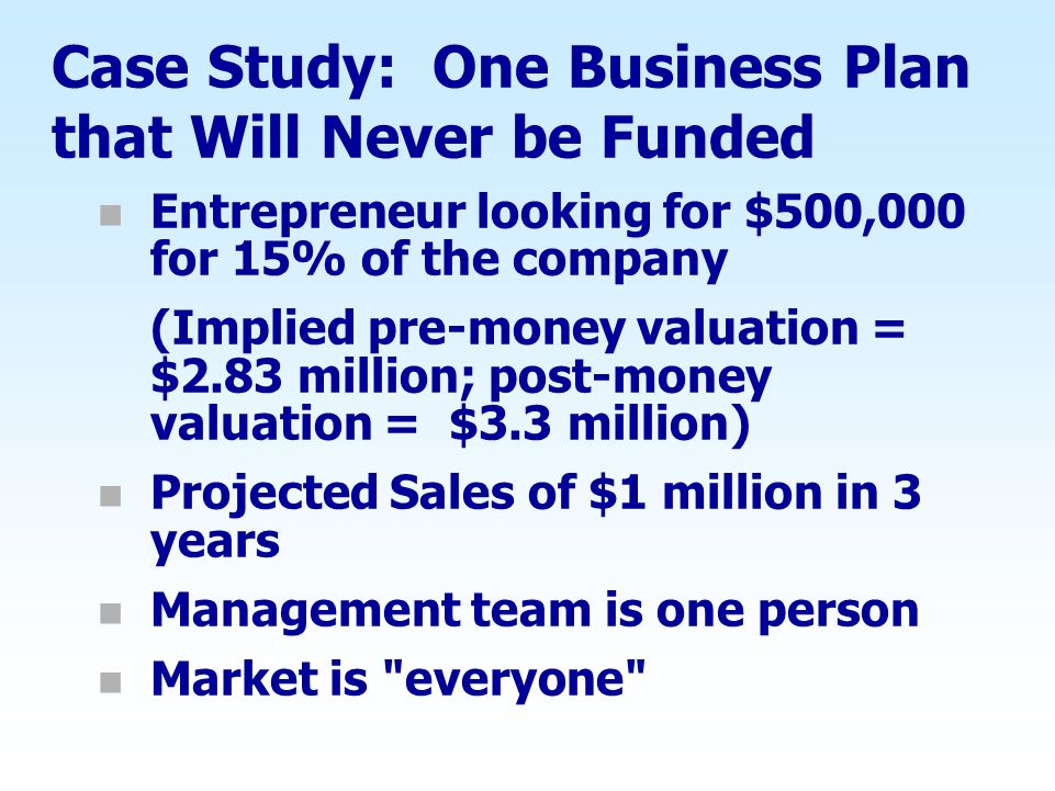 Case Study: One Business Plan that Will Never be Funded