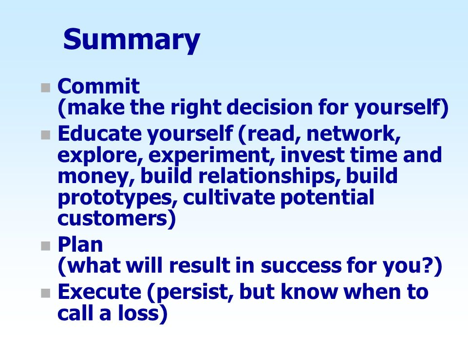 Summary Commit (make the right decision for yourself)