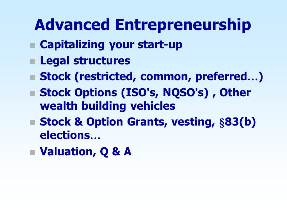 Advanced Entrepreneurship