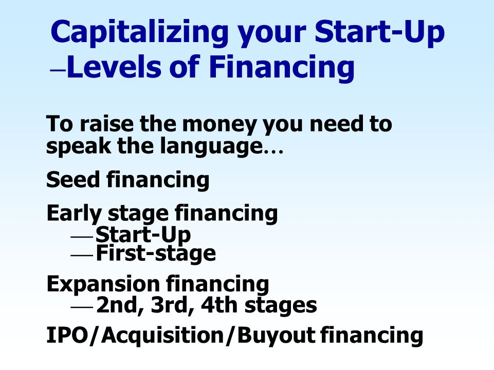 Capitalizing your Start-Up –Levels of Financing