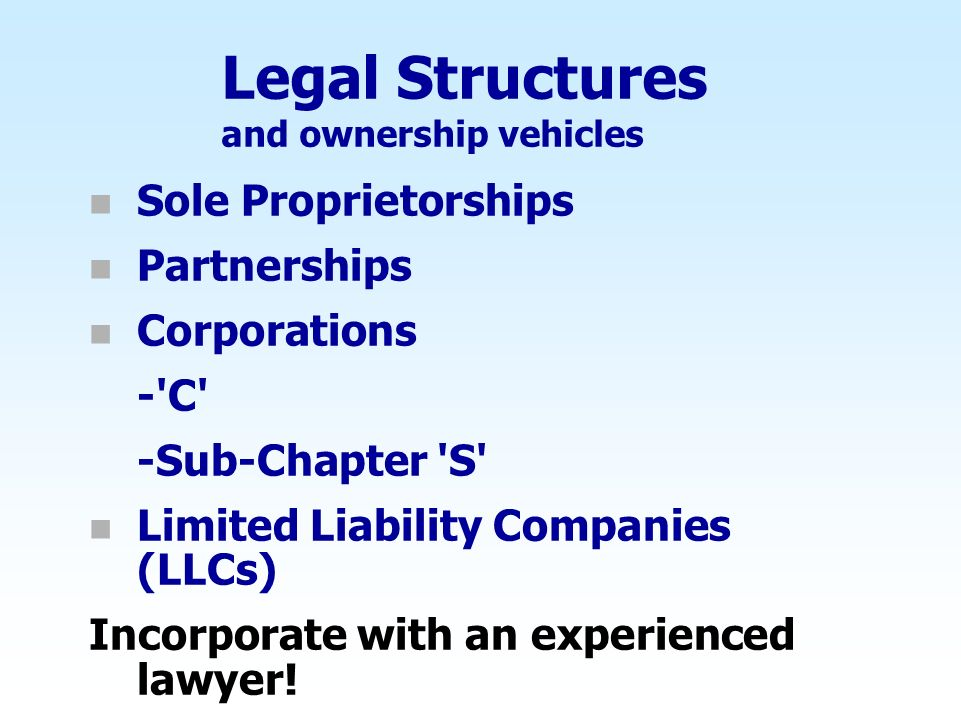 Legal Structures and ownership vehicles