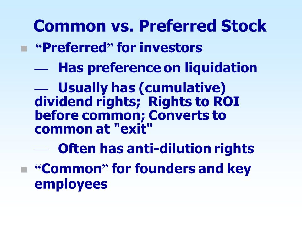 Common vs. Preferred Stock