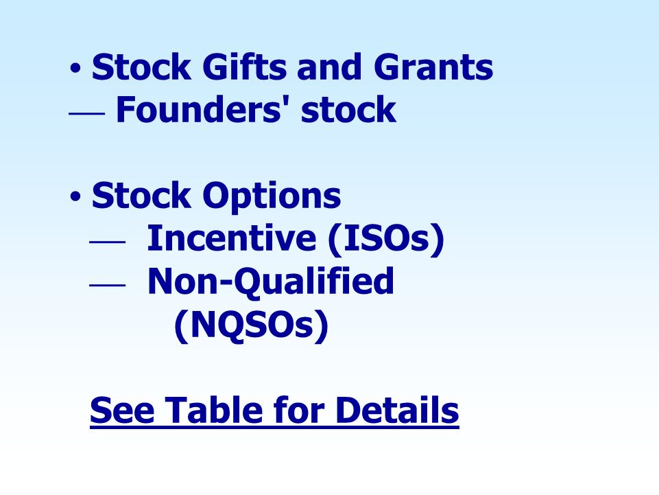 • Stock Gifts and Grants — Founders stock • Stock Options — Incentive (ISOs) — Non-Qualified (NQSOs) See Table for Details