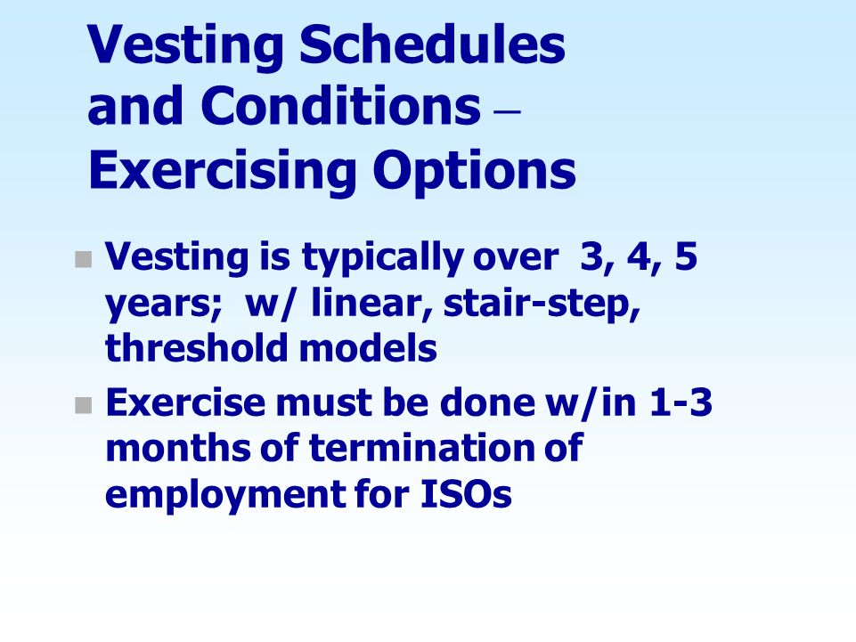 Vesting Schedules and Conditions – Exercising Options